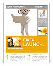 3d people - men , person with project. Engineer Flyer Template