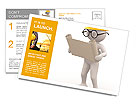 3d people - men , person with project. Engineer Postcard Template