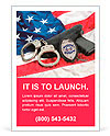 Police badge, gun and handcuffs on an American flag symbolizing law enforcement in the United States Ad Templates