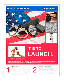 police badge gun and handcuffs on an american flag symbolizing law enforcement in the united states flyer template