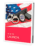 Police badge, gun and handcuffs on an American flag symbolizing law enforcement in the United States Presentation Folder