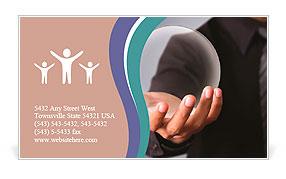 Businessman Hand holding a Glass Ball Business Card Template