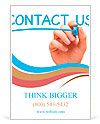 Hand writing Contact Us with blue marker on transparent wipe board. Ad Template