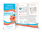 Hand writing Contact Us with blue marker on transparent wipe board. Brochure Templates