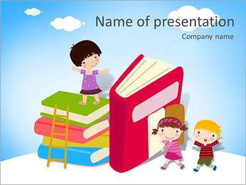 Children and banner Stock Vector Illustration: PowerPoint Template