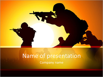 Silhouette illustration of a group of soldiers in assault formation Stock Vector Illustration: PowerPoint Template