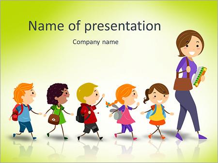 illustration of school kids following their teacher stock vector