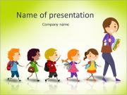 Illustration of School Kids Following Their Teacher Stock Vector Illustration: PowerPoint Templates