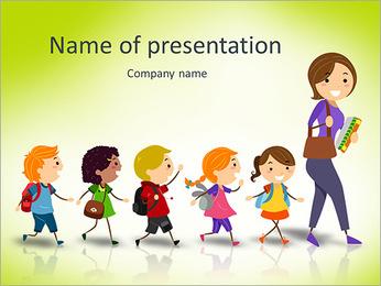 教師ベクターグラフィック続いスクールキッズのイラスト: PowerPointプレゼンテーションのテンプレート