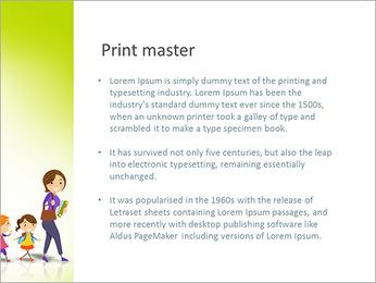 Ilustración de los niños de la escuela después de su ilustración del profesor Stock vector: Plantillas de Presentaciones PowerPoint