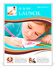 Cute cheerful child drawing using felt-tip pen while sitting at table Flyer Template