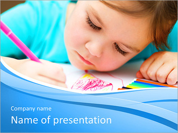 Cute cheerful child drawing using felt-tip pen while sitting at table PowerPoint Template