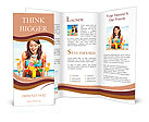 Young woman in bikini on beach drinking cocktail. Brochure Templates