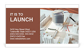 Architectural model of a modern building Business Card Template
