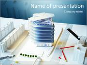 Architectural model of a modern building PowerPoint Templates