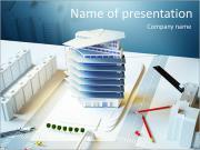 Modern bir binanın mimari model PowerPoint sunum şablonları