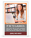 Portrait of a young smiling student using her laptop in a library Ad Templates