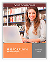Portrait of a young smiling student using her laptop in a library Word Template