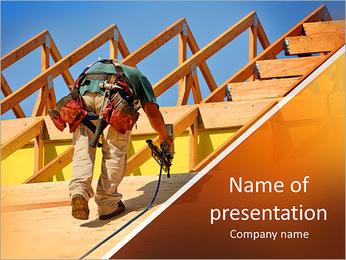 Equipe de construção a trabalhar na cobertura do telhado de uma nova, de dois andares, prédio comercial em Modelos de apresentações PowerPoint