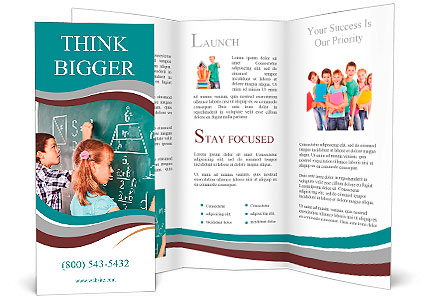 teacher brochure template - teen school child sitting on desk in classroom brochure