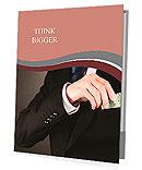 Business man hiding money in pocket on black background Presentation Folder