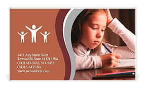 Child doing homework. Sad girl writing, reeding Business Card Template