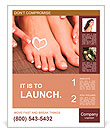 Beautiful woman legs with cream and hands on bamboo mat Poster Template