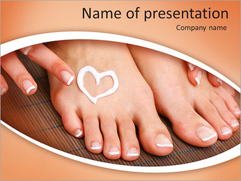 Beautiful woman legs with cream and hands on bamboo mat PowerPoint Template