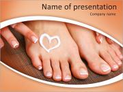 Beautiful woman legs with cream and hands on bamboo mat PowerPoint Templates