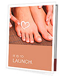 Beautiful woman legs with cream and hands on bamboo mat Presentation Folder