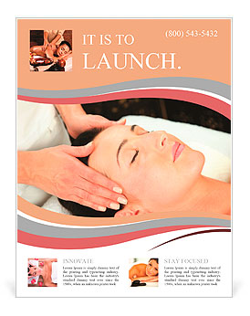 young woman receiving massage spa flyer template design id