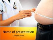 Kvinna läkare med en läkarundersökning i feta patienter PowerPoint presentationsmallar