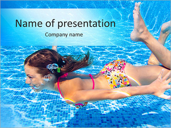 Happy active underwater child swims in pool, beautiful healthy girl swimming and having fun on famil PowerPoint Template