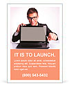 Business man sitting at office desk with laptop computer facing the camera and pointing his finger t Ad Template