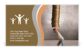 A boy holding a coins stack Business Card Template