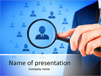 Human resources, CRM, data mining and social media concept - officer looking for employee represente PowerPoint Template