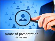 Human resources, CRM, data mining and social media concept - officer looking for employee represente PowerPoint Templates