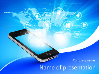 Modern communication technology illustration with mobile phone and high tech background PowerPoint Template