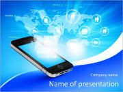 Modern communication technology illustration with mobile phone and high tech background PowerPoint Templates