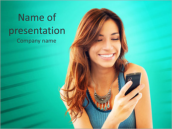 Happy Woman Looking and Text Messaging On The Smart Phone PowerPoint Template