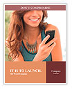 Happy Woman Looking and Text Messaging On The Smart Phone Word Templates
