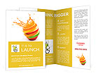 Various type of fruit slices stacked with splash, fruit punch concept Brochure Templates