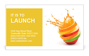 Various type of fruit slices stacked with splash fruit punch various type of fruit slices stacked with splash fruit punch concept business card template colourmoves