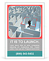 A businessman stands in the center of the maze Ad Templates