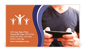 Close Up Of A Man Using Mobile Smart Phone Business Card Template