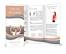 Happy handsome businessman holding white blank horizontal billboard with space for text isolated on Brochure Template