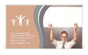 Happy handsome businessman holding white blank horizontal billboard with space for text isolated on Business Card Templates