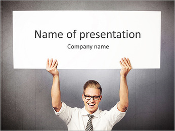Happy handsome businessman holding white blank horizontal billboard with space for text isolated on PowerPoint Template