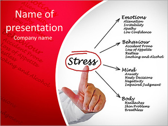 Diagram of stress consequences PowerPoint Template