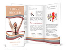 Young businessman breaking the line Brochure Templates